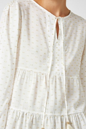 Koton Kadın Altın Desenli Bluz 1KAK68719CW 4