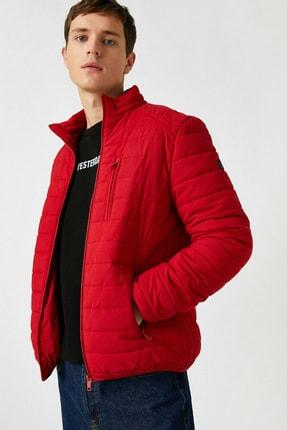 Koton Erkek Kırmızı Dik Yaka Cepli Ince Mont 1KAM21087LW 0