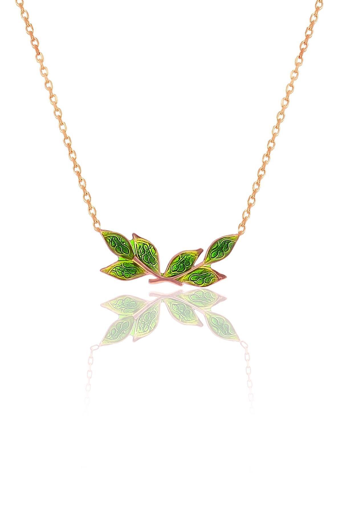 Söğütlü Silver Gümüş Rose Mineli Zeytin Yaprağı Kolye 0