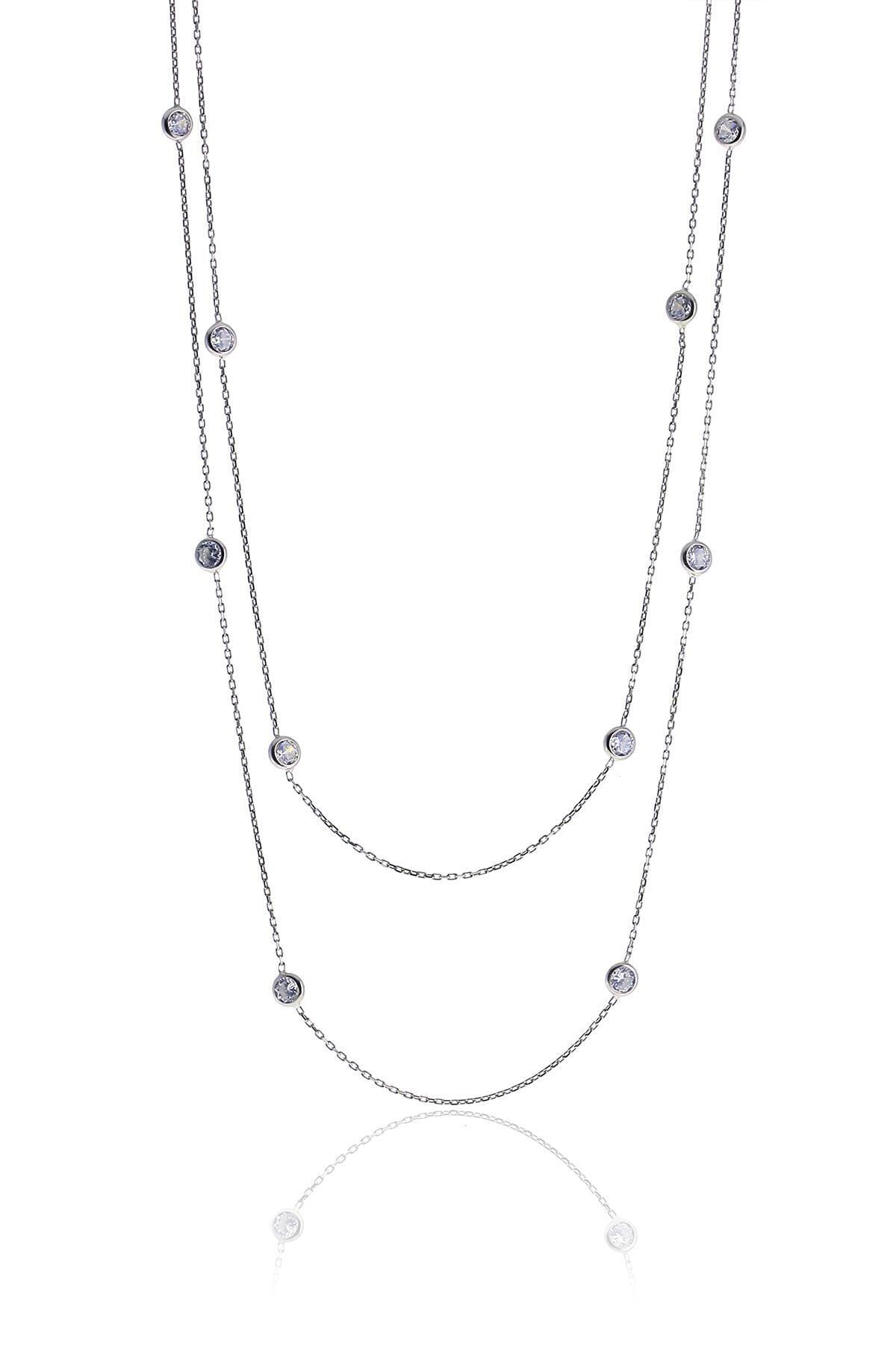 Söğütlü Silver Gümüş Rodyumlu Zirkon Sıra Taşlı Kolye 0