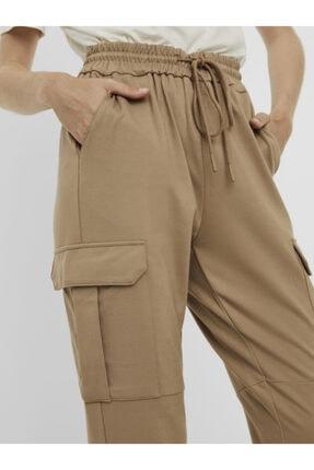 Vero Moda Kadın Bej Paçası Lastikli Kargo Pantolon 10233502 VMEVA 1