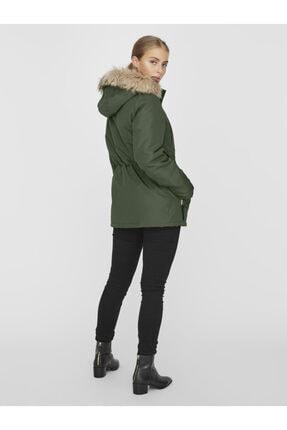 Vero Moda Kadın Yeşil Belden Büzülebilir Kapüşonu Kürklü Mont 10230808 VMEXPEDITIONHIKE 3