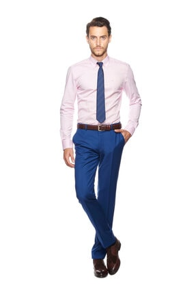 Altınyıldız Classics Erkek Pembe Tailored Slim Fit Desenli Gömlek 4R2017101109 0