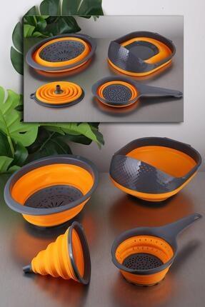 vipgross Katlanır Mutfak Seti 4 Parça Huni Süzgeç Seti Turuncu 0