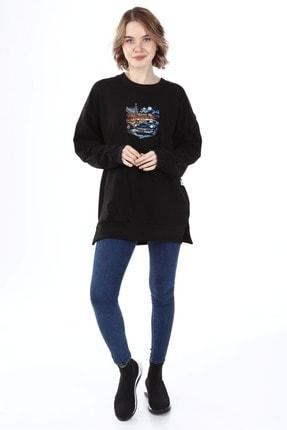 Millionaire Kadın Siyah Yırtmaçlı Revved Up Baskılı Oversize Sweatshirt 4