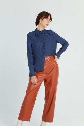Rue Kadın Lacivert Dökümlü Drapeli Gömlek 21102079 1