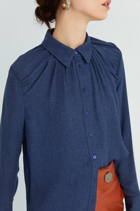 Rue Kadın Lacivert Dökümlü Drapeli Gömlek 21102079 2