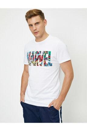 Koton Erkek Beyaz Marvel Lisanslı Yazılı Yarım Kollu T-Shirt 0