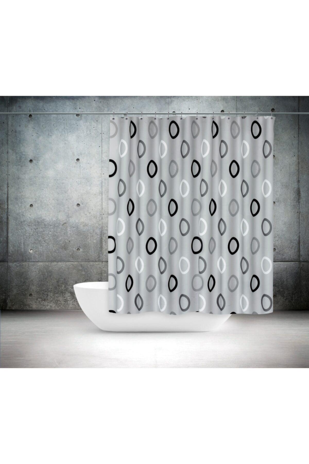 Polyester Kumaş Geometrik Desen Gri Banyo Perdesi Yerli Üretim Duş Perdesi Plastik C-halka Hediye