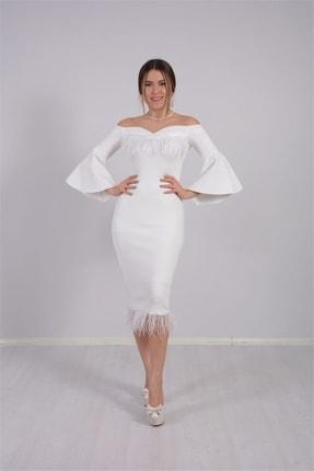 giyimmasalı Kadın Beyaz Krep Kumaş Tüy Detaylı Tasarım Elbise 2