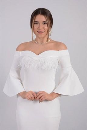 giyimmasalı Kadın Beyaz Krep Kumaş Tüy Detaylı Tasarım Elbise 4