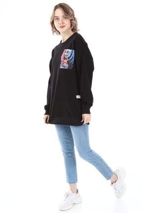 Millionaire Kadın Siyah Harley Quinn Baskılı Oversize  Sweatshirt 3