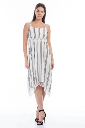Cotton Mood Kadın Ekru Siyah Şile Bezi Çizgi Desenli Çapraz Askılı Elbise 0