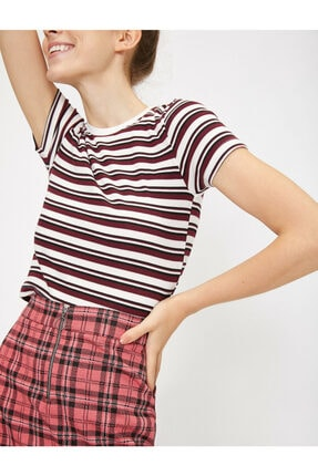 Koton Kadın Bordo Çizgili T-Shirt 0