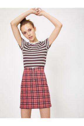 Koton Kadın Bordo Çizgili T-Shirt 1