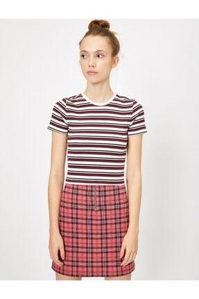 Koton Kadın Bordo Çizgili T-Shirt 2