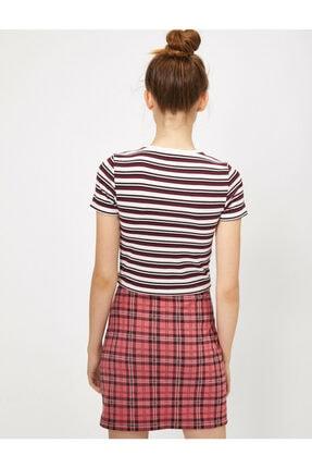 Koton Kadın Bordo Çizgili T-Shirt 3