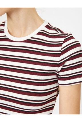 Koton Kadın Bordo Çizgili T-Shirt 4