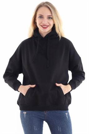 boffin Kadın Siyah İçi Pamuklu Oversıze Sweatshirt 0