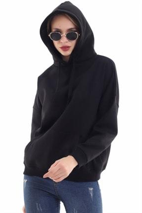 boffin Kadın Siyah İçi Pamuklu Oversıze Sweatshirt 2