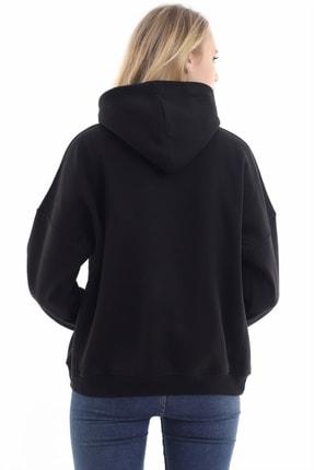 boffin Kadın Siyah İçi Pamuklu Oversıze Sweatshirt 4