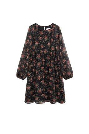 Mango Kadın Kırmızı Desenli Dökümlü Elbise 2