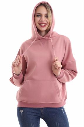 boffin Kadın Gül Kurusu Içi Pamuklu Oversıze Sweatshirt 1