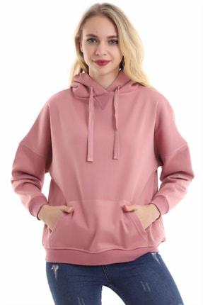 boffin Kadın Gül Kurusu Içi Pamuklu Oversıze Sweatshirt 2