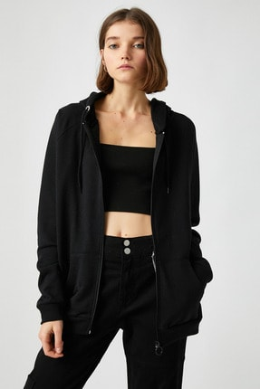 Koton Kadın Siyah Sweatshirt 1KAL68008OK 0