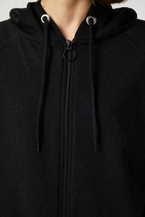 Koton Kadın Siyah Sweatshirt 1KAL68008OK 4