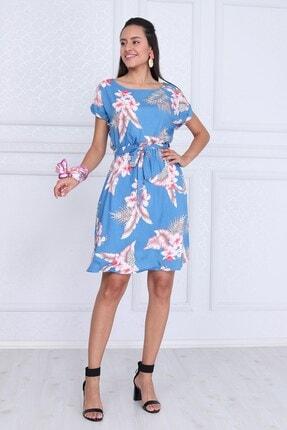Cotton Mood Kadın Mavı Çıçeklı VisDesenli Beli Lastikli Yarasa Kol Elbise 9343431 0
