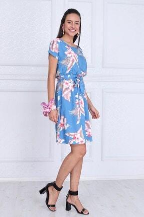 Cotton Mood Kadın Mavı Çıçeklı VisDesenli Beli Lastikli Yarasa Kol Elbise 9343431 1
