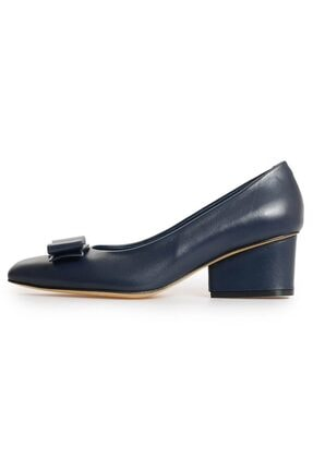 Flower Kadın Lacivert Deri Fiyonk Detaylı Topuklu Ayakkabı 0