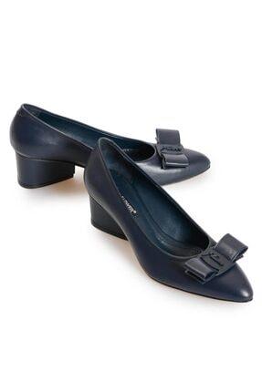 Flower Kadın Lacivert Deri Fiyonk Detaylı Topuklu Ayakkabı 3