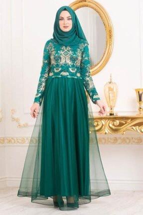 Tesettürlü Abiye Elbiseler - Işleme Detaylı Çağla Yeşili Tesettür Abiye Elbise 31750cy MGR-31750|00121_Çağla Yeşili