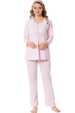 ALİMER Kadın Pembe Hamile Lohusa Emzirme Pijama Takımı 1