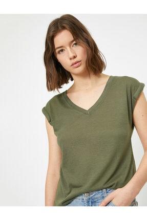 Koton Kadın Yeşil V Yaka T-shirt 0