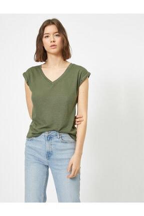 Koton Kadın Yeşil V Yaka T-shirt 1