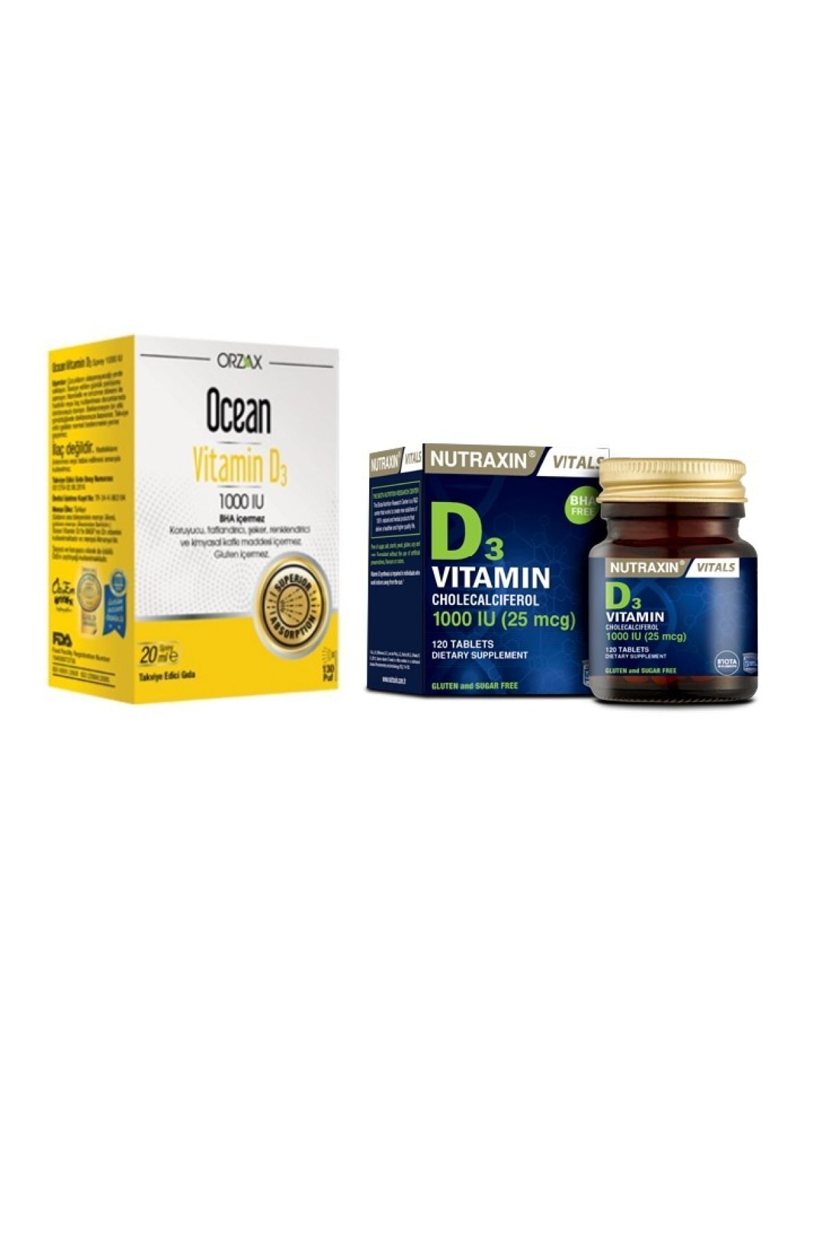 Orzax D Vitamin Seti D3 Vitamini 1000 Iu 120 Tablet D3 Vitamini Ocean Vitamin D3 1000 Iu Sprey 20 Ml Fiyati Yorumlari Trendyol
