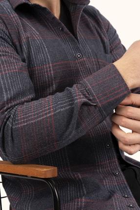 Etikmen Lacivert Kırmızı Çizgili Kışlık Oduncu Gömlek 1