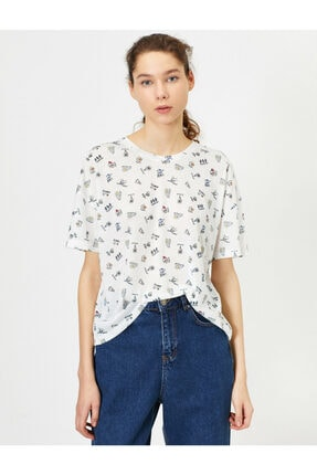 Koton Kadın Ekru Desenli T-shirt 0YAL18013IK 1