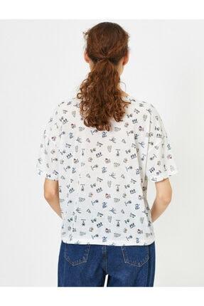 Koton Kadın Ekru Desenli T-shirt 0YAL18013IK 3