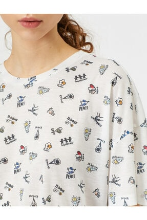 Koton Kadın Ekru Desenli T-shirt 0YAL18013IK 4