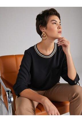 Kadın Siyah Yakalı Bluz U61163