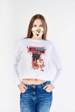 FINGER PRINT Kadın Beyaz Tazmanya Canavarı Baskılı Sweatshirt 0