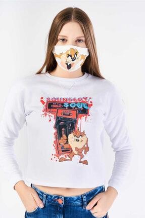 FINGER PRINT Kadın Beyaz Tazmanya Canavarı Baskılı Sweatshirt 2