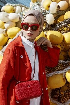 Nihan Kadın Kırmızı Keten Kap X3278 1