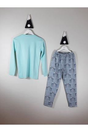 Vitmo Baby Vitmo Uzun Kollu Şardonlu Ceylan Baskılı Yeşil 13 Yaş Kız Pijama Takımı 1