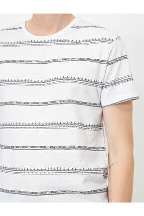 Koton Erkek Beyaz Çizgili T-Shirt 0YAM14911OK 4