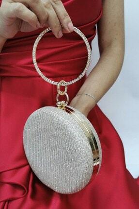 NAZART Kadın Cupra Altın 259 Gold Simli Zincir Askılı Abiye Clutch Portföy Çanta 1